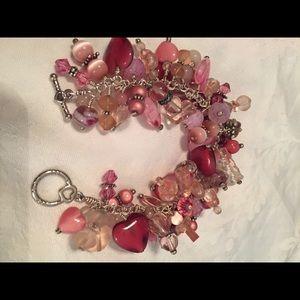 Pink Glass Bead & Silver Bracelet